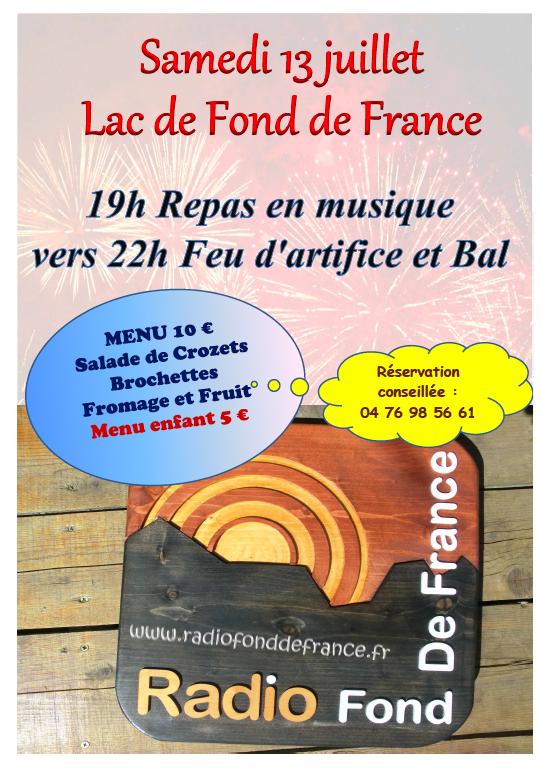 Les Villes de La Ferrière et de Pinsot qui coorganisent le feu d'artifice du 13 juillet nous ont confié l'élaboration du repas de ce jour festif. Retrouvez-nous à côté du Lac de Fond de France sur la place de la Maison de la Nature à la Ferrière.